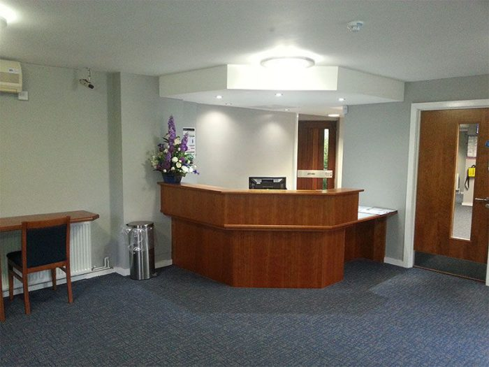 View inside main reception at Bramcote Crematorium, showing the front desk